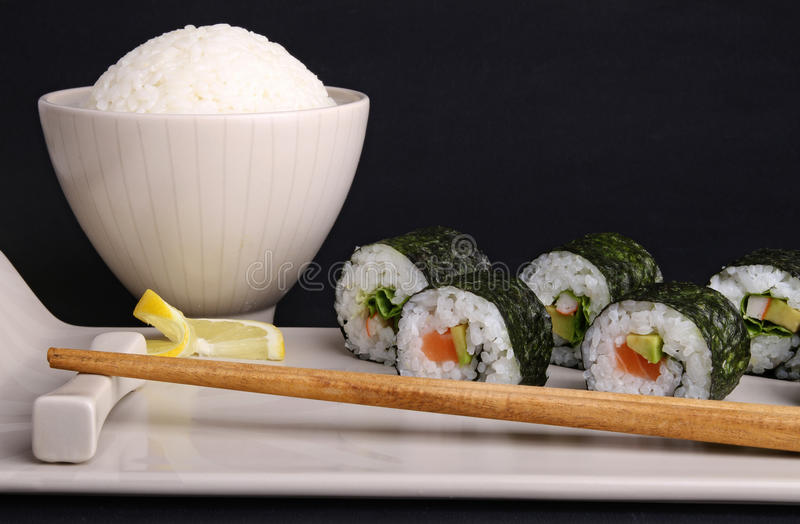 Download Sushi maki roll and rice stock photo. Image of food, lunch - 18376802
