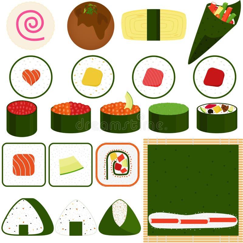 Sushi Maki (sushi roulés) illustration de vecteur