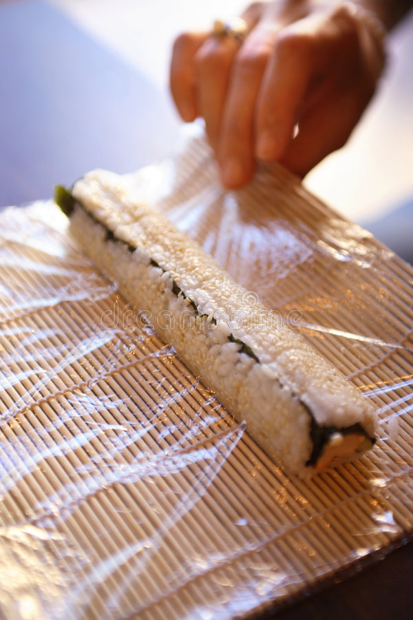 Sushi making process royalty free stock photos