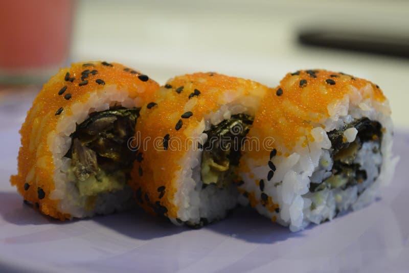 Sushi makis with masago stock photography