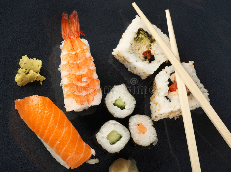 Download Sushi meal top view stock image. Image of spice, salmon - 2032809