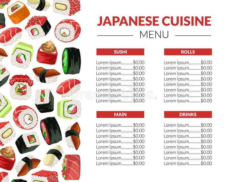 Sushi-Menü-Schablone für Restaurant, Bar oder Café, japanische Meeresfrüchte-Broschüre mit asiatische Nahrungsmittelnahtlosem Mus stock abbildung