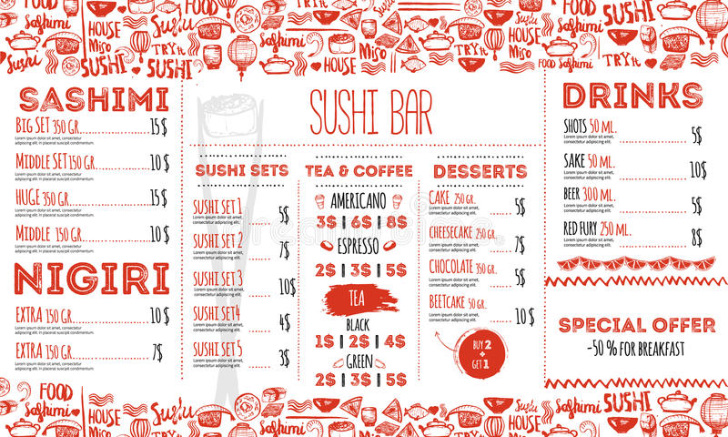 Sushi menu flyer layout template. Japanese food brochure with hand drawn doodle and lettering. vector illustration