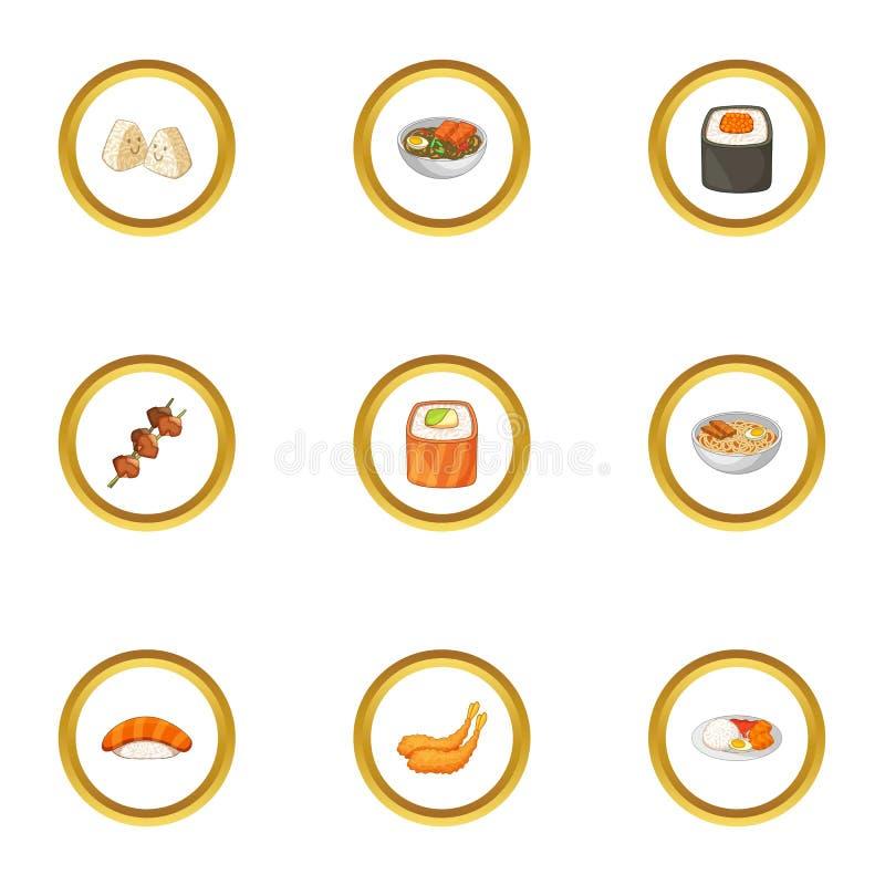 Sushi menu icons set, cartoon style. Sushi menu icons set. Cartoon style set of 9 sushi menu vector icons for web design vector illustration
