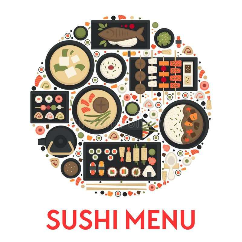 Free Sushi Menu, Japanese Food Restaurant, Green Tea And Rolls Stock Images - 173800164