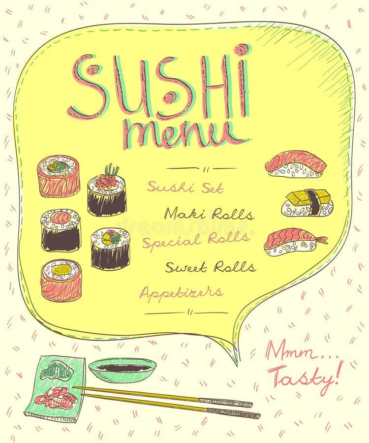 Sushi menu list design, hand drawn vector. Illustration stock illustration