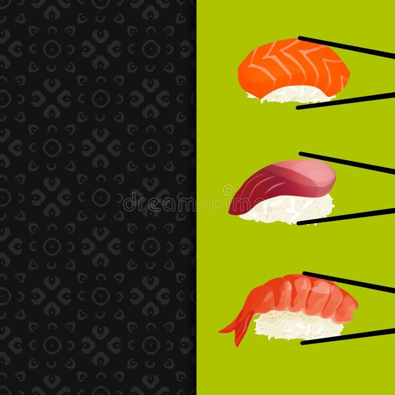 Sushi menu, seamless pattern royalty free illustration