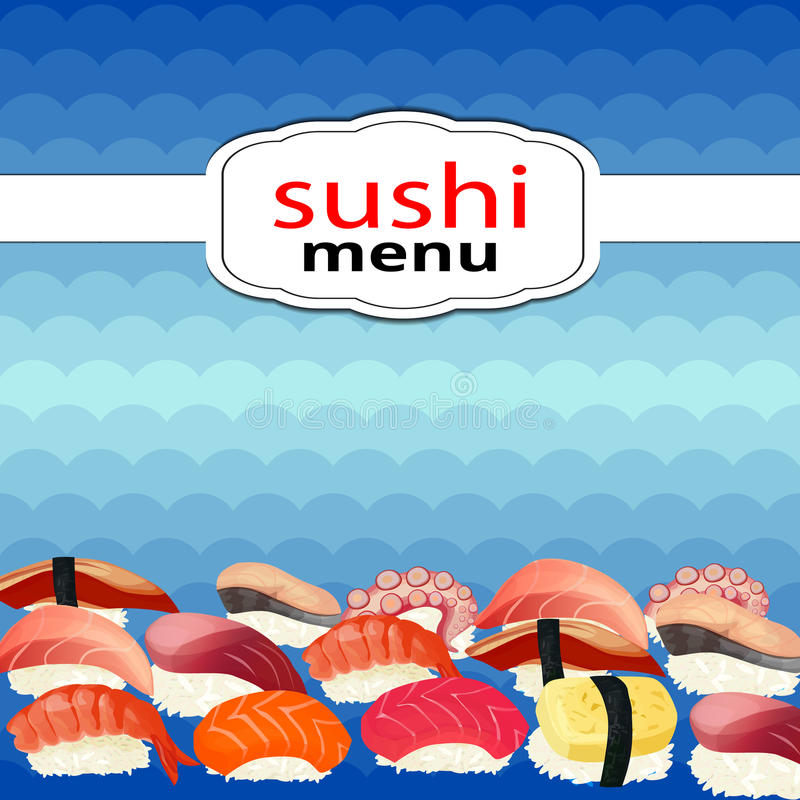 Sushi menu sushi on a background of waves vector illustration