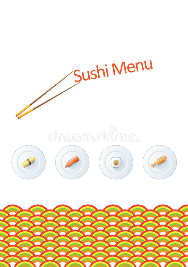 Sushi menu template royalty free illustration