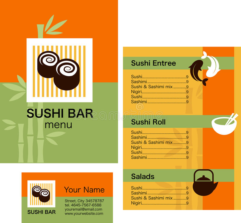Sushi menu template and business card with logo stock vector branding template design for sushi menu and business card illustration with orange and green background wajeb Choice Image