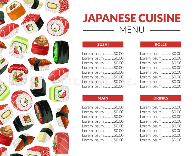 Sushi Menu Template for Restaurant, Bar or Cafe, Japanese Seafood Brochure with Asian Food Seamless Pattern Vector stock illustration