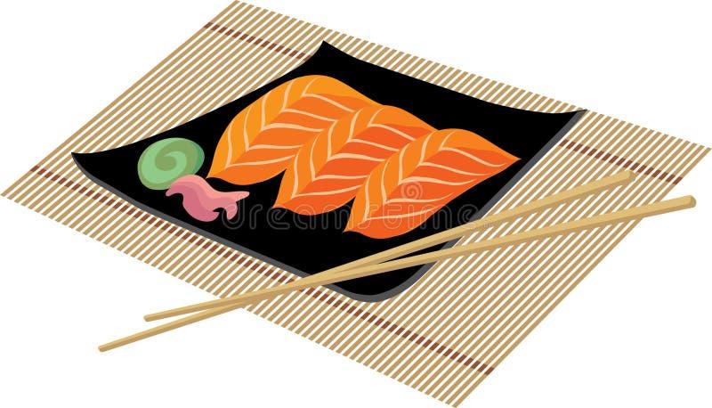 Sushi met wasabi royalty-vrije illustratie