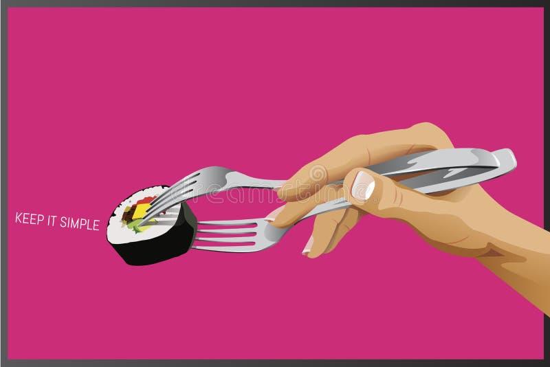 Sushi mit Gabeln als Essstäbchen vektor abbildung