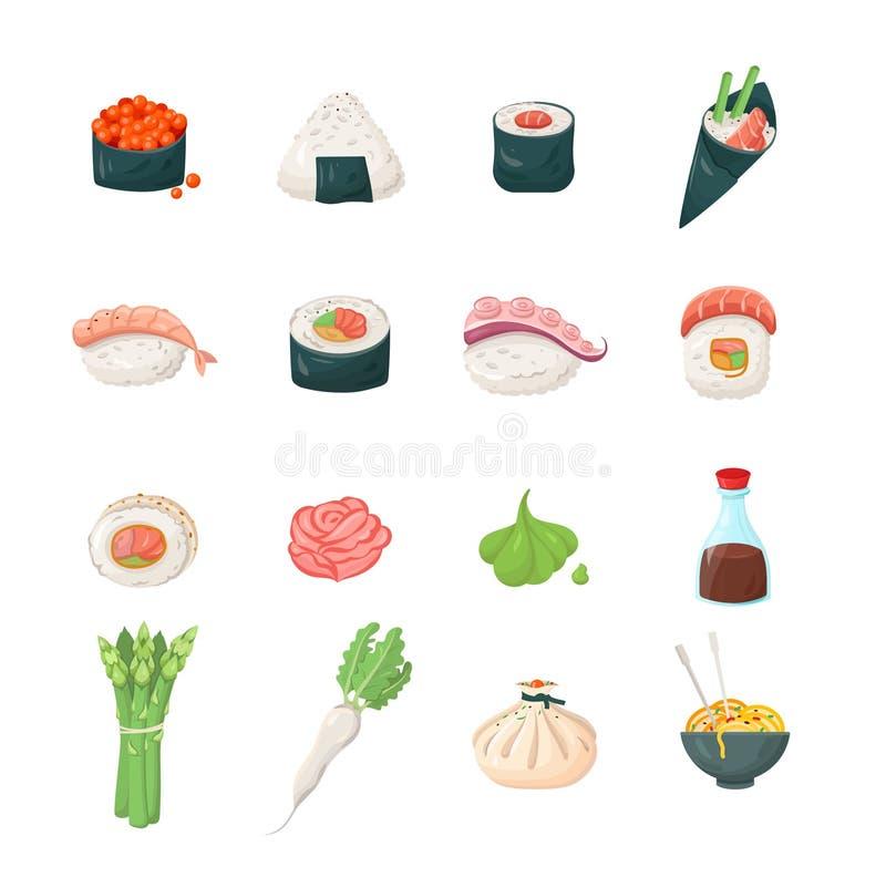 Sushi - modern vector line icons set. Sushi - modern color vector single line icons set. Roll, rice, shrimp, fish, noodles, sauce, soy, asparagus, ginger, plant royalty free illustration