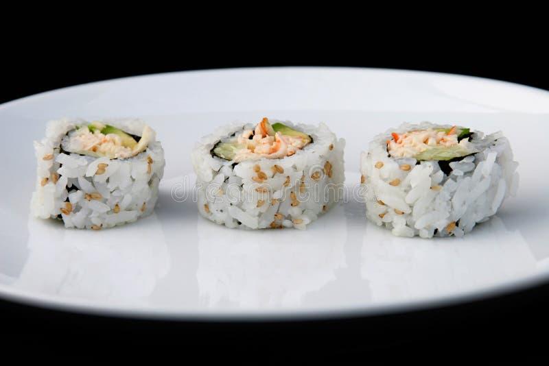 Sushi na placa branca 1 imagem de stock