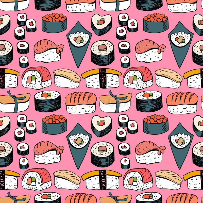 Sushi Naadloze Achtergrond stock illustratie