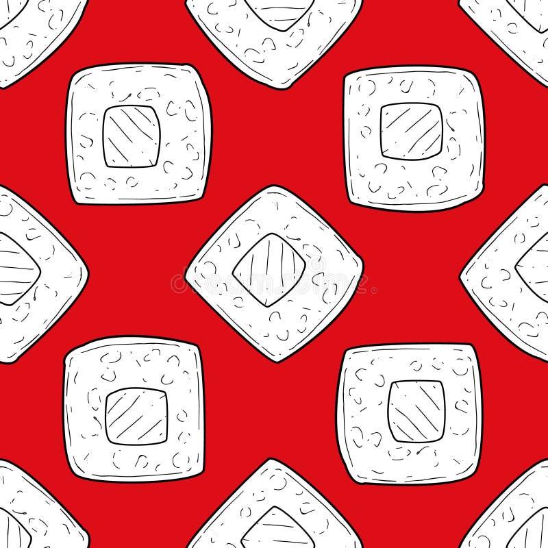 Sushi-nahtloses Muster, Gestaltungselement mit traditionellem orientalischem Symbol kann für Gewebe, die Tapete benutzt werden un lizenzfreie abbildung