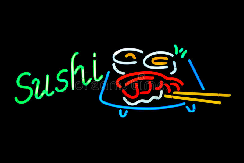 Sushi Neon Sign royalty free stock photography