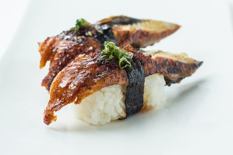 Sushi Nigiri de Unagi fotos de stock royalty free