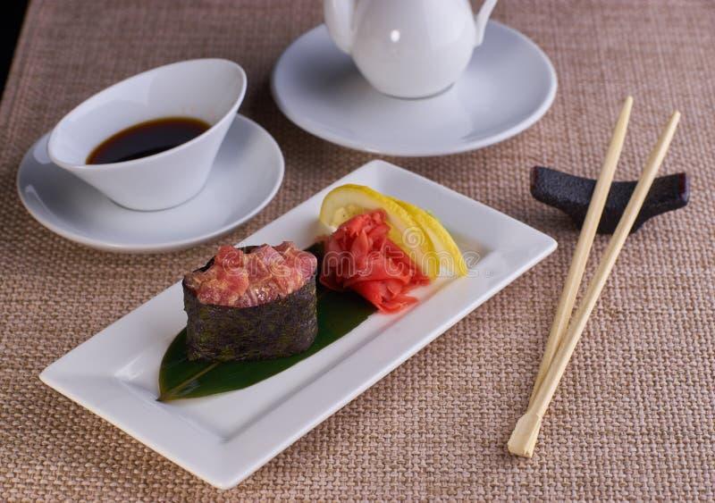 Sushi nigiri with spicy tuna fish royalty free stock photography