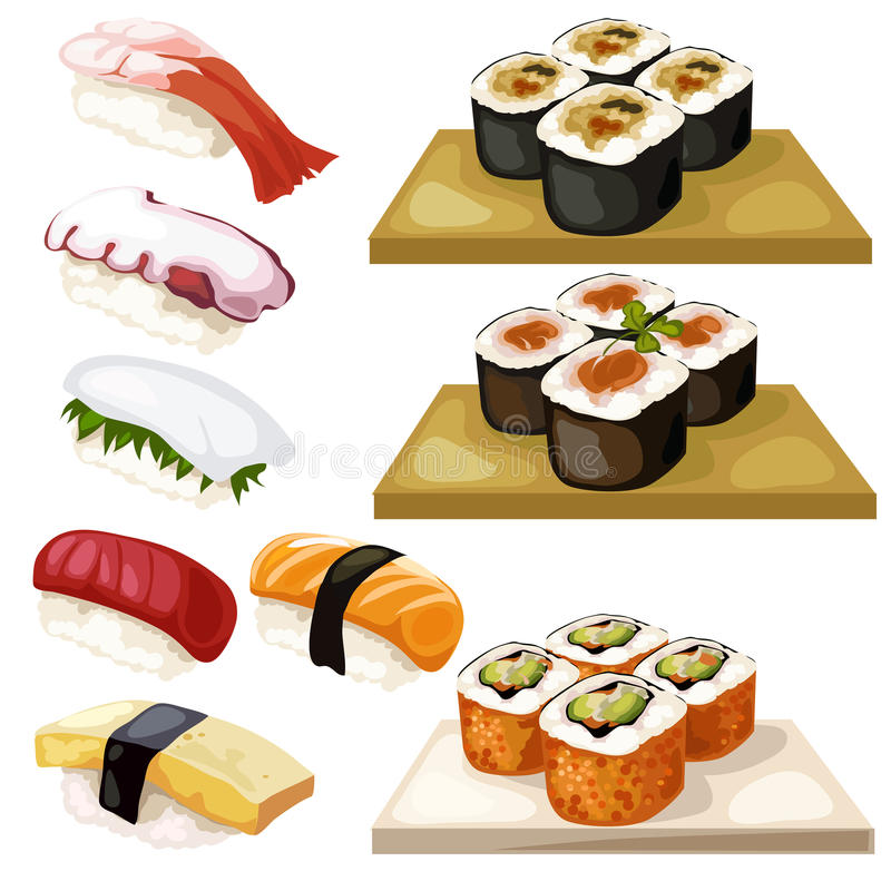 Sushi och rullar, traditionell japansk mat royaltyfri illustrationer