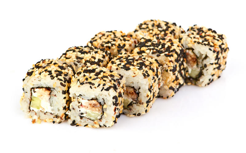 Sushi, op wit worden geïsoleerd dat. royalty-vrije stock foto's