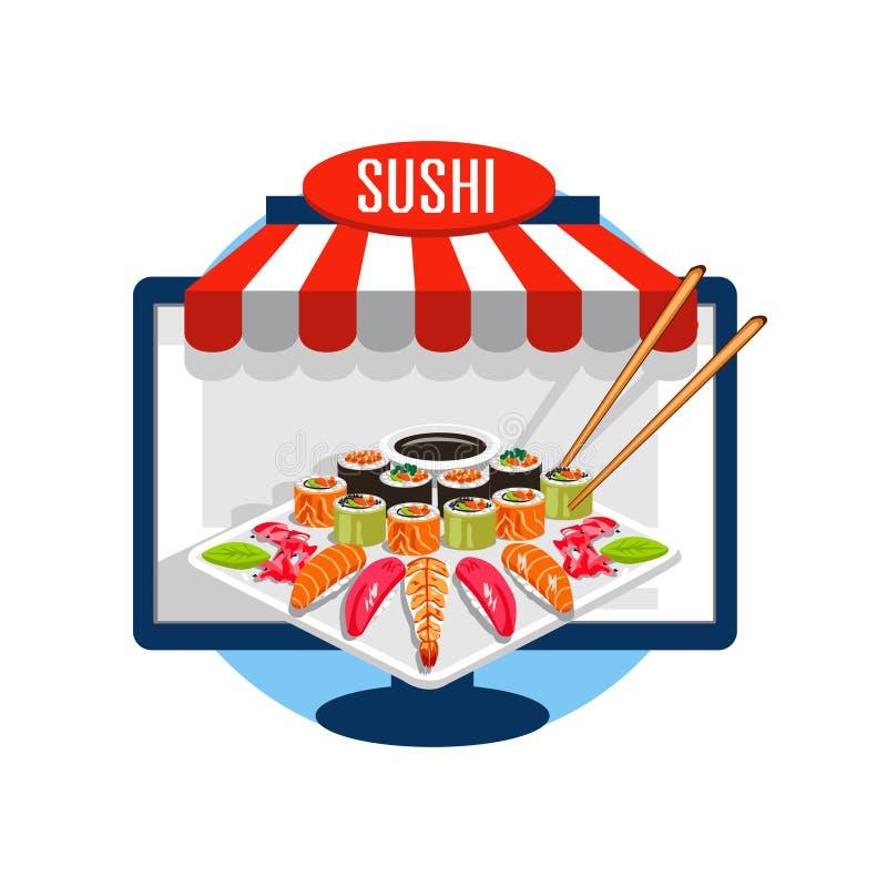 Sushi order online vector illustration