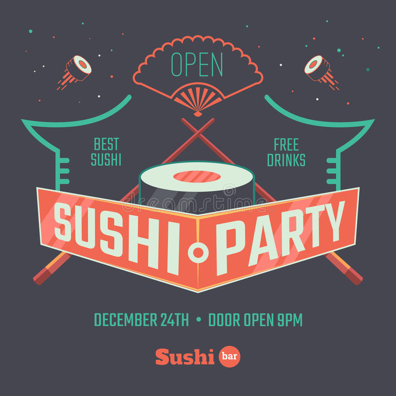 Sushi patry affiche royalty-vrije illustratie