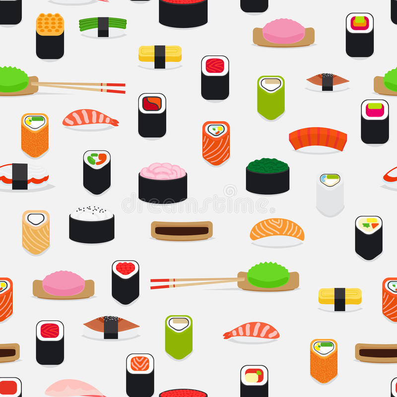 Sushi pattern with colorful flat elements vector illustration