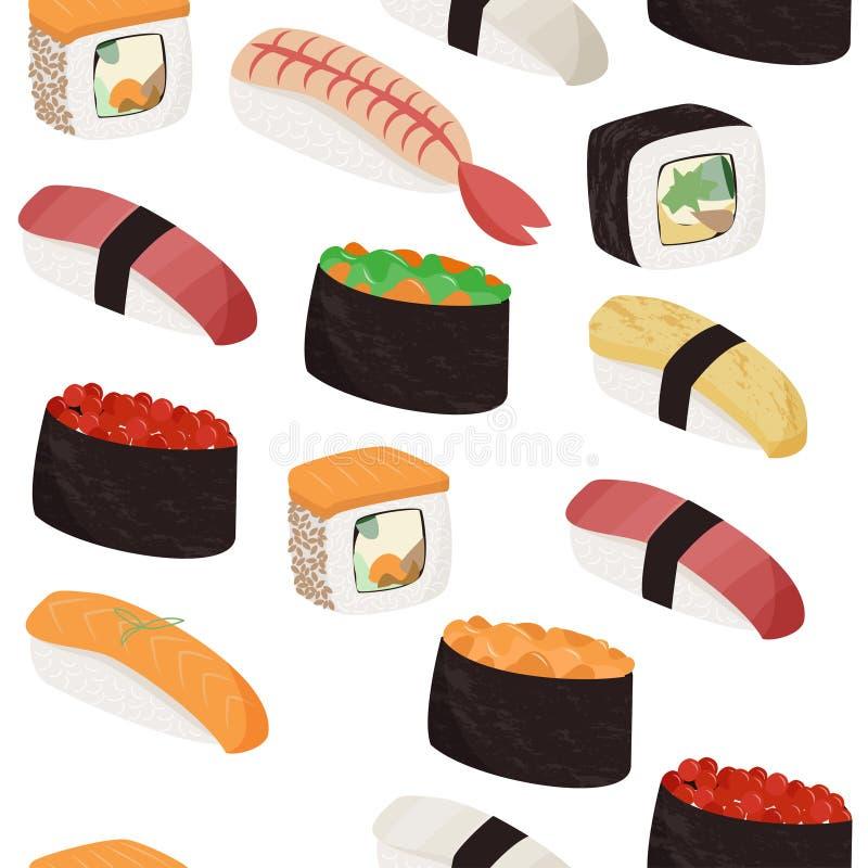 Sushi pattern. Japanese dishes seamless pattern. Food background. stock illustration