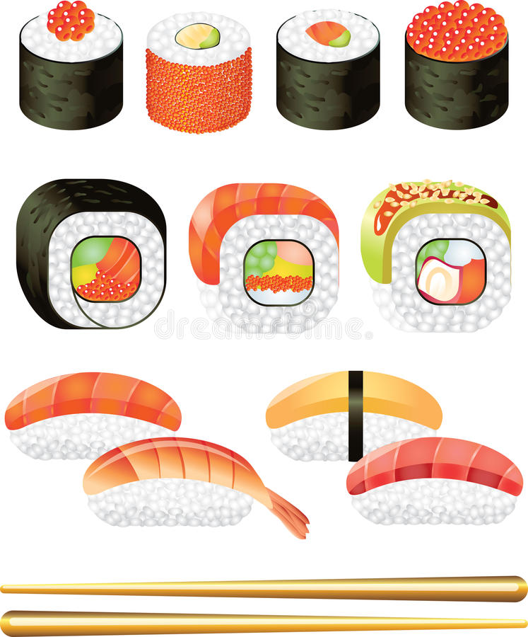 Sushi photo-realistic set. Sushi photo-realistic detailed set stock illustration