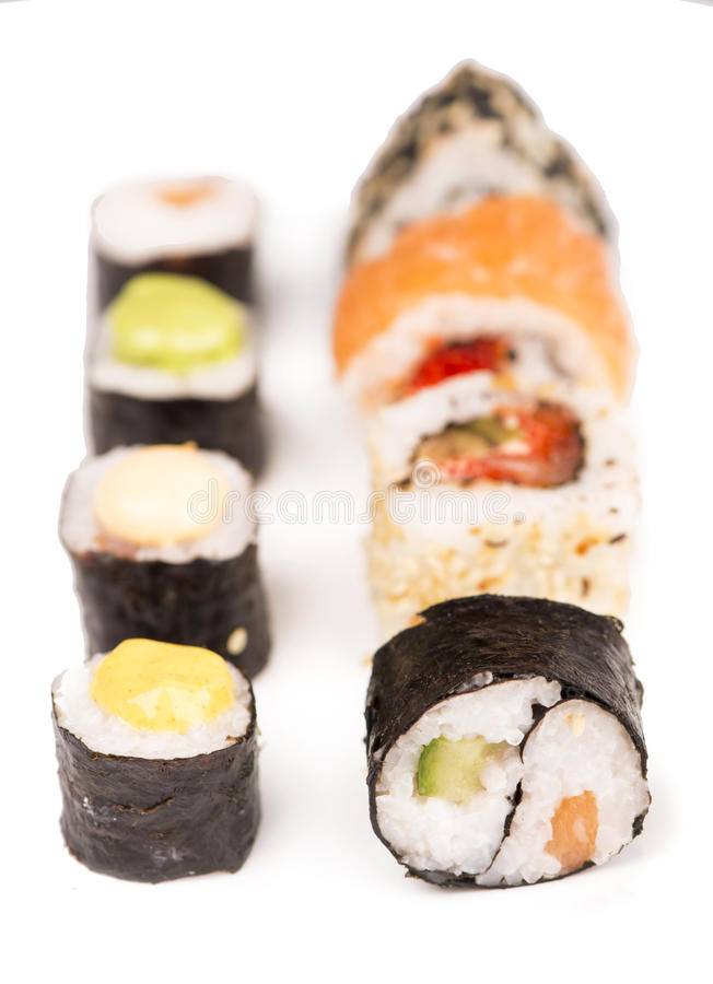 Sushi pieces collection. Isolated on white background royalty free stock photos