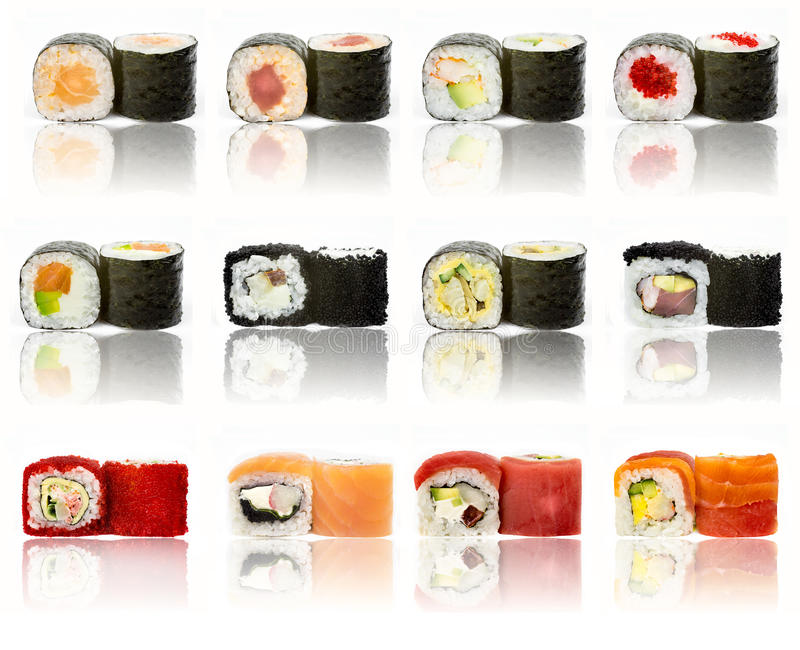 Sushi pieces collection. Isolated on white background stock image