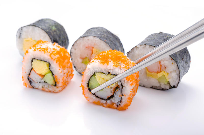 Sushi pieces collection. On white background royalty free stock photography