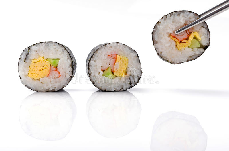 Sushi pieces collection. On white background stock photography