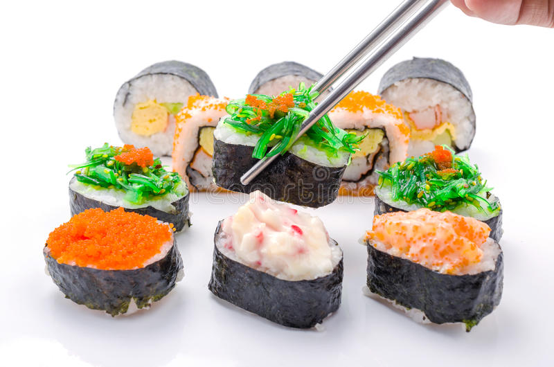 Sushi pieces collection. On white background royalty free stock photos