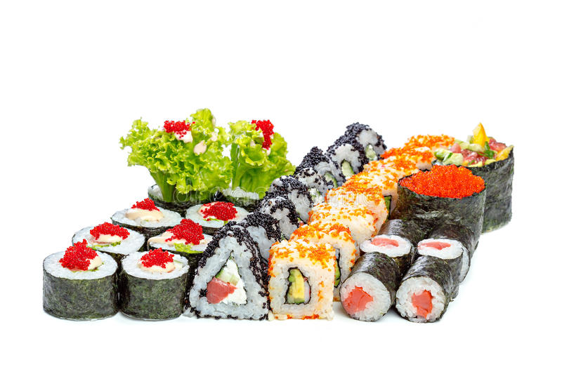 Sushi pieces collection. On a white background stock photos