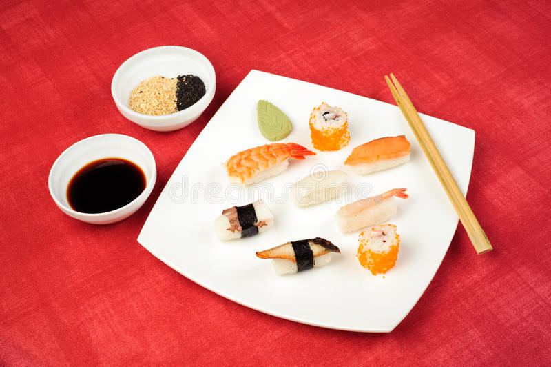 Sushi plate stock photos