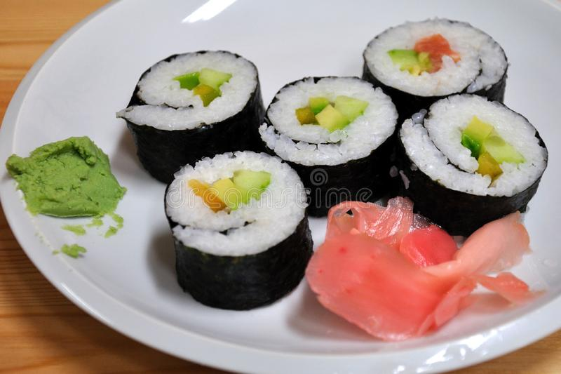 Sushi on a plate stock photo