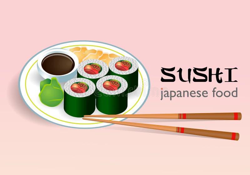 Sushi on plate. Illustration of nigiri sushi on plate, traditional japanese food