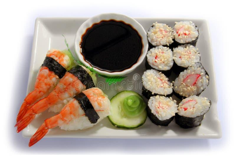 Sushi plate. Sushi on white plate isoalted on white background royalty free stock photography