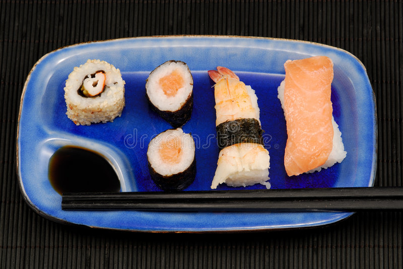 Download Sushi plate stock image. Image of salmon, fine, rolls - 4790195