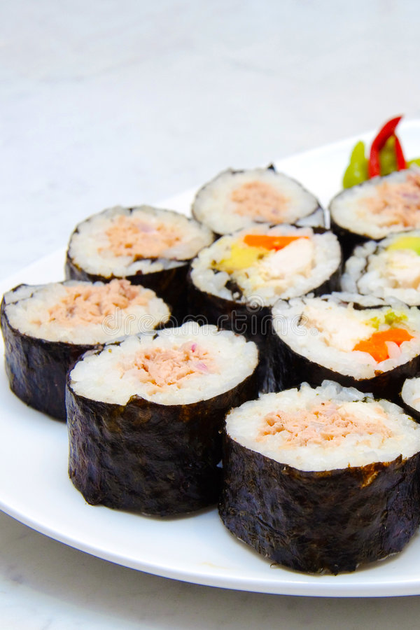 Sushi plate stock photography