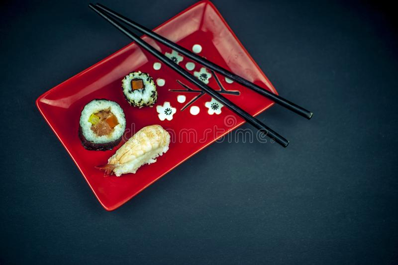 Sushi on the plate from above royalty free stock image