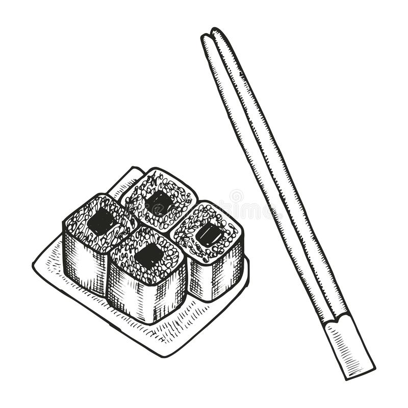 Sushi on the plate and chopsticks sketch. Vector isolated stock illustration