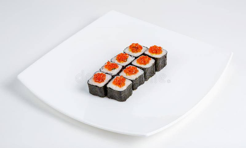 Sushi on a plate. Dish, the menu, it is isolated, a white background royalty free stock photography