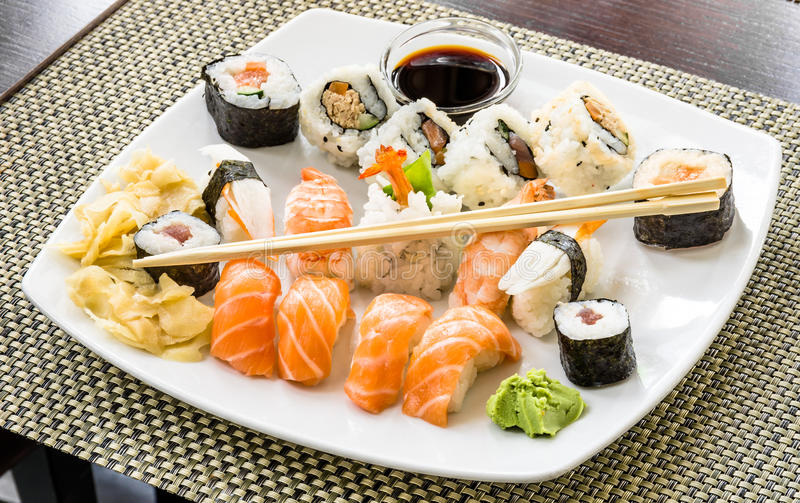 Sushi Plate. Full view of a delicous variation of sushi plate stock images