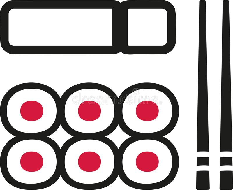 Sushi plate with maki chopsticks. Vector stock illustration