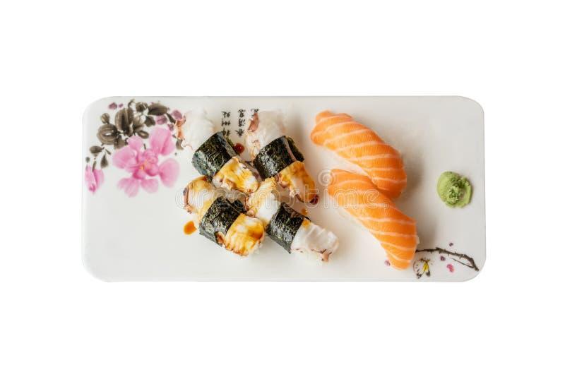 Sushi plate on white background stock image