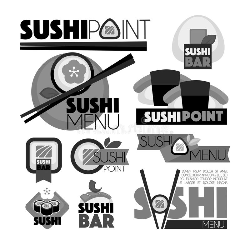 Sushi point bar menu monochrome set of emblems. Delicious rolls with fresh fish, wooden chopsticks and big thick signs on promotional logotypes isolated vector vector illustration